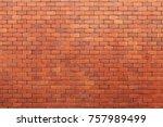 old brick wall orange texture....   Shutterstock . vector #757989499