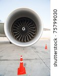 an aircraft jet engine - stock photo