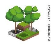 isometric trees design | Shutterstock .eps vector #757991629