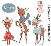 Stock vector set with cute watercolor winter deer 757996057