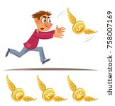 cartoon man trying to catch... | Shutterstock .eps vector #758007169