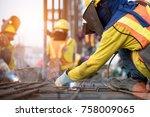 industrial welder welding... | Shutterstock . vector #758009065