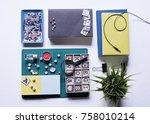 flat lay shot.book headphone... | Shutterstock . vector #758010214