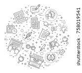 simple set of copywriting... | Shutterstock .eps vector #758019541