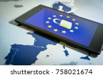 Small photo of Padlock and EU flag inside smartphone and EU map, symbolizing the EU General Data Protection Regulation or GDPR. Designed to harmonize data privacy laws across Europe.