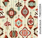 vintage christmas ornaments...   Shutterstock .eps vector #758022004