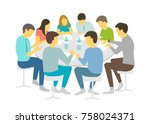 round table talks brainstorm.... | Shutterstock .eps vector #758024371
