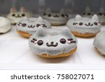 cute donut. sugar donut with... | Shutterstock . vector #758027071