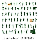 silhouettes of warehouse... | Shutterstock .eps vector #758028925