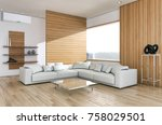 modern bright living room with... | Shutterstock . vector #758029501
