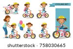 cycling little girl. mother... | Shutterstock .eps vector #758030665