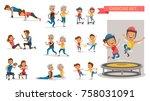 fitness couple set. different... | Shutterstock .eps vector #758031091