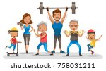 sport family. big family happy... | Shutterstock .eps vector #758031211