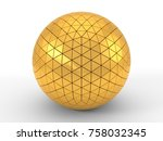 triangle plated golden sphere.... | Shutterstock . vector #758032345
