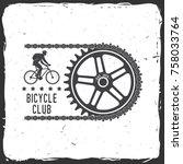 bicycle club. vector... | Shutterstock .eps vector #758033764