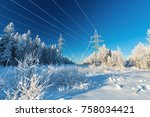the overhead electric line over ... | Shutterstock . vector #758034421
