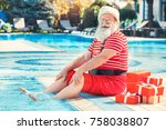 santa claus near the pool... | Shutterstock . vector #758038807
