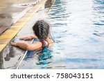 swimming pool with stair at... | Shutterstock . vector #758043151