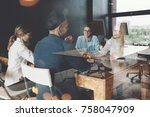 meeting room situation. general ... | Shutterstock . vector #758047909