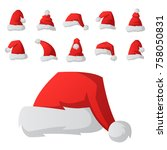 santa claus fashion red hat... | Shutterstock .eps vector #758050831