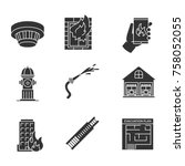 firefighting glyph icons set.... | Shutterstock .eps vector #758052055