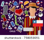 chile concept background .flat... | Shutterstock .eps vector #758053051