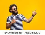 bearded young man in striped t...   Shutterstock . vector #758055277