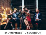 party with friends. happy young ... | Shutterstock . vector #758058904
