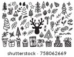 handdrawn christmas elements.... | Shutterstock .eps vector #758062669