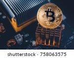 bitcoin. gold bitcoin... | Shutterstock . vector #758063575