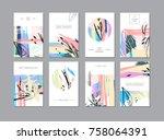 set of creative universal... | Shutterstock .eps vector #758064391