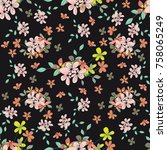 seamless floral pattern. floral ... | Shutterstock .eps vector #758065249