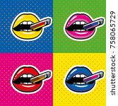 lips with cigar pop art | Shutterstock .eps vector #758065729