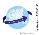 global logistics network.  the...   Shutterstock .eps vector #758065945