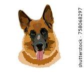 german shepherd dog vector   Shutterstock .eps vector #758068297