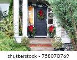 front door with a christmas... | Shutterstock . vector #758070769