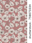 seamless poppies pattern. | Shutterstock .eps vector #758073334