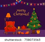 christmas room interior in...   Shutterstock .eps vector #758073565