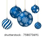 blue christmas balls with... | Shutterstock .eps vector #758073691