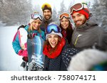 winter  extreme sport and... | Shutterstock . vector #758074171