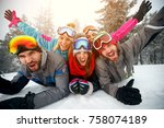 group of friends on winter... | Shutterstock . vector #758074189