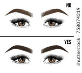 right and wrong eyebrow...   Shutterstock .eps vector #758074219