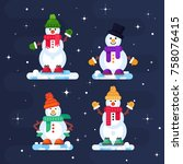 winter set of funny snowmen.... | Shutterstock .eps vector #758076415