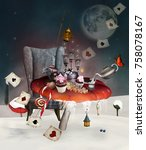 Stock photo wonderland christmas banquet with different kinds of foods mushrooms armchair and other stuff 758078167