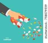 social campaign flat isometric... | Shutterstock .eps vector #758079559