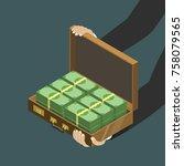 money in the suitcase flat... | Shutterstock .eps vector #758079565