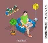freelancer flat isometric... | Shutterstock .eps vector #758079571