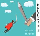 small business vs big flat... | Shutterstock .eps vector #758079577
