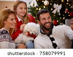 parents with daughter and cute... | Shutterstock . vector #758079991