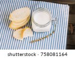 bread and a glass of milk on... | Shutterstock . vector #758081164